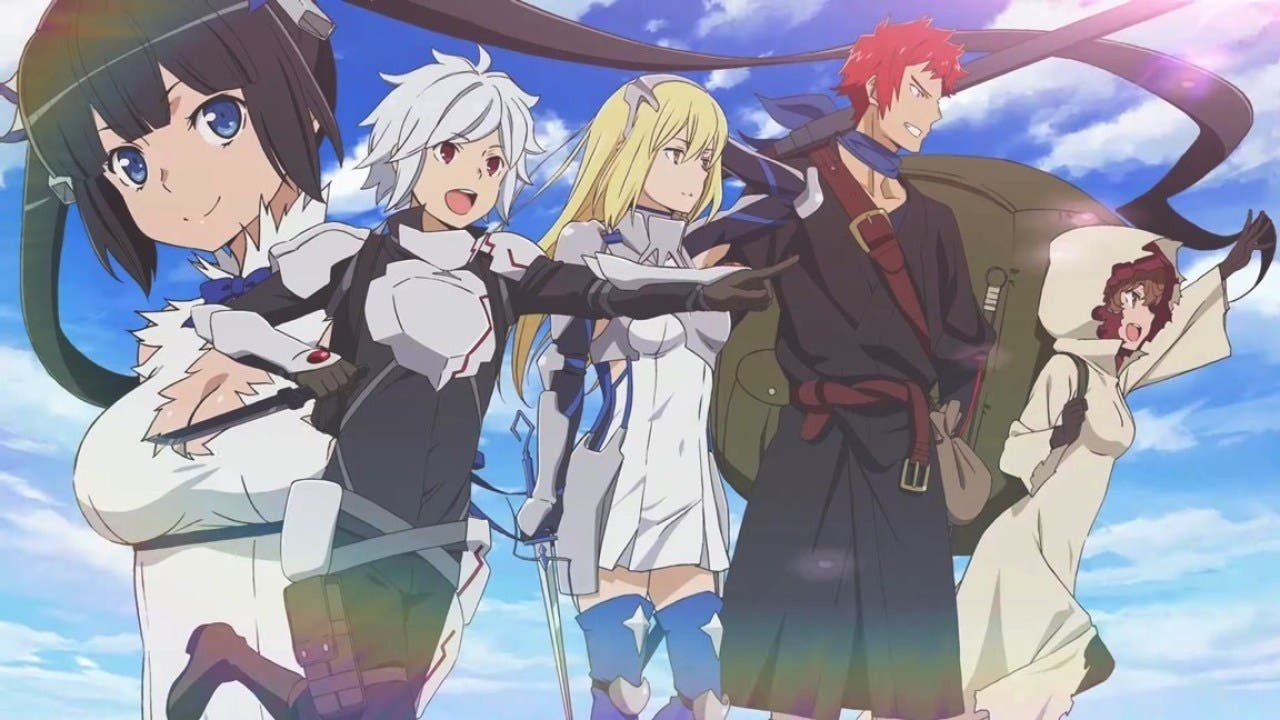 Imagen promocional de It Wrong to Try to Pick Up Girls in a Dungeon? con todos sus protagonistas