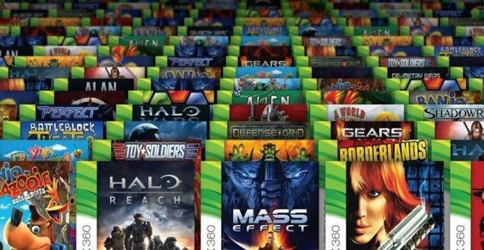 Cinco hileras que muestran diversos videojuegos de Xbox.