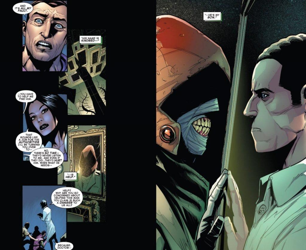 Panel de revelación de la identidad de Kindred, con el villano reflejado en el espejo y del otro lado está Harry Osborn