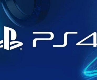Logo de PlayStation 4 en letras blancas en un fondo azul