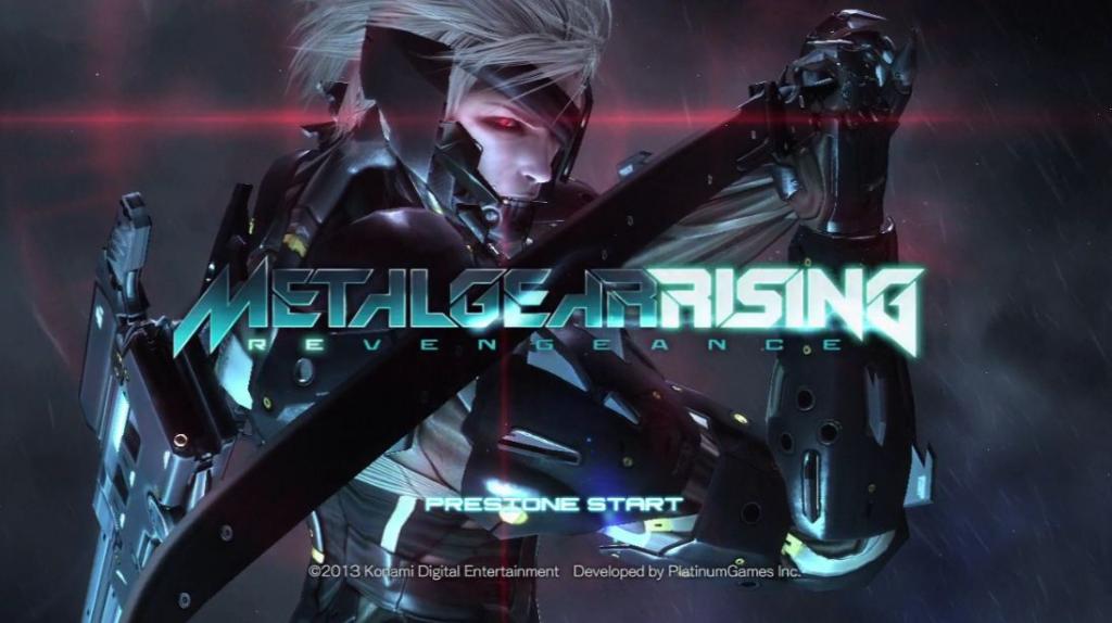 Pantalla de título de Metal Gear Rising: Revengeance con Raiden en el centro.
