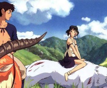 Ashitaka y la princesa Mononoke cabalgando en direcciones diferentes