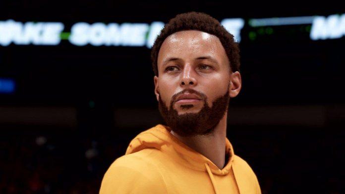 Versión renderizada de Steph Curry de NBA 2K21, antes de salir al campo