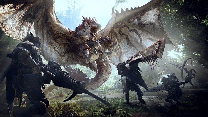 monstruo alada ataca a cazadores con armas