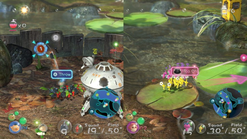 Dos imágenes de la jugabilidad de Pikmin 3 en perspectiva 3D.