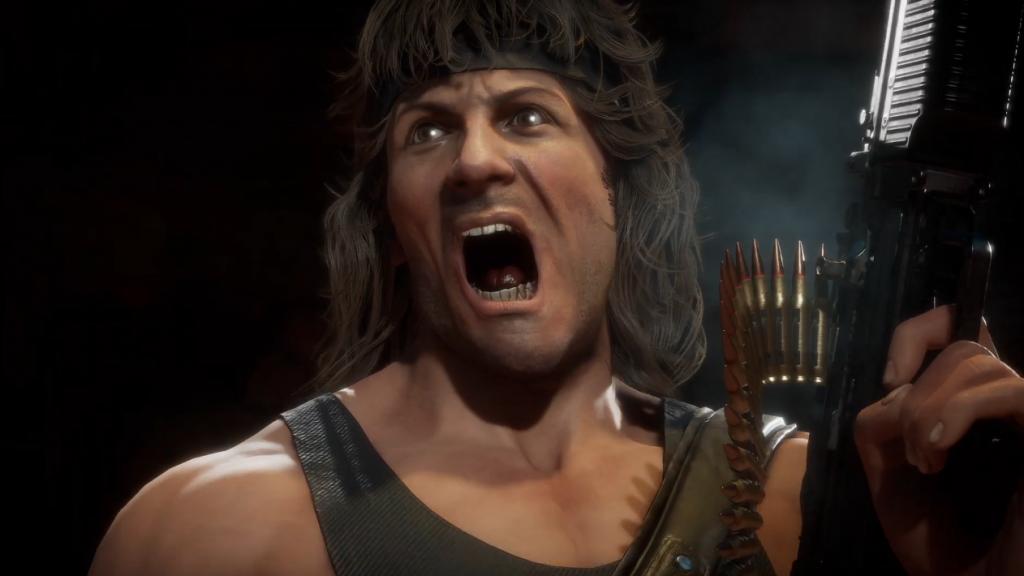 Rambo grita mientras dispara su ametralladora m60.