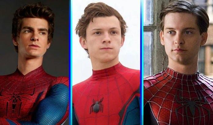 Tobey Maguire, Andrew Garfield y Tom Holland usando sus trajes de Spider-Man