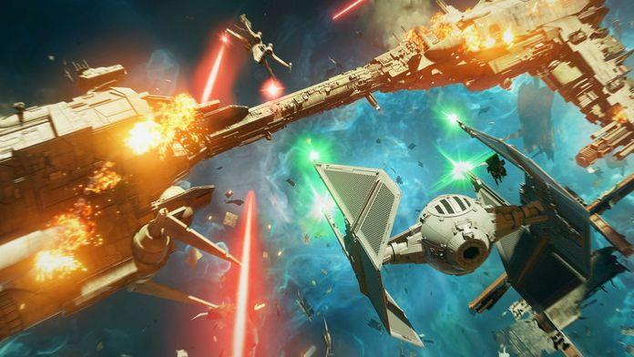 Batalla espacial ente varias naves de Star Wars: Squadrons.