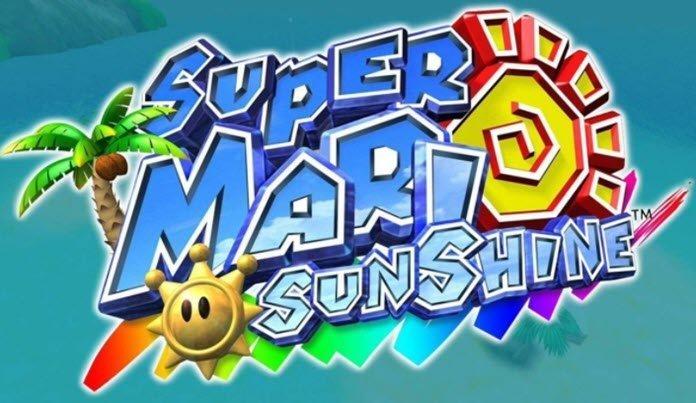 Logo de Super Mario Sunschine en un fondo azul adornado con una palmera y un sol