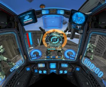 Imagen tomada del arcade Mobile Suit Gundam: Senjou no Kizuna II dónde se ven las 3 pantallas, el deck y la pantalla principal seleccionando un objetivo para disparar.