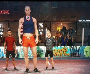 Un grupo de cuatro jugadores de 'FIFA 20' del modo Volta en el que uno de ellos es un bug de un portero gigante