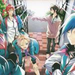 Imagen tomada del manga de 'Bishounen Tanteidan' con los protagonistas frente a un portón, cubiertos de pétalos de rosa y al fondo una luz segadora.