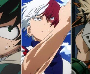 Imagen tomada de varias escenas de 'Boku no Hero Academia' con un primer plano de Deku, Shoto y Bakugo en un fondo blanco.