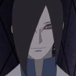 Imagen tomada del anime de 'Boruto Naruto Next Generations' con Orochimaru en un primer plano sonriendo y al fondo paredes con rombos tallados.