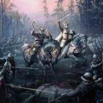 Dos caballeros a caballo luchando en medio de un enfrentamiento con soldados a pie