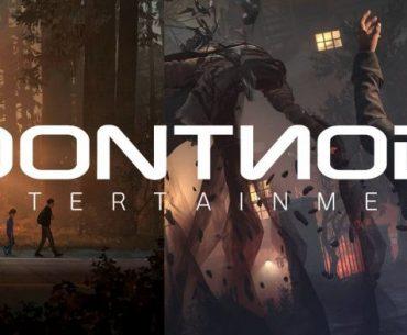 Logo de Dontnod Entertainment sobre capturas de pantalla de Life is Strange 2 y Vampyr