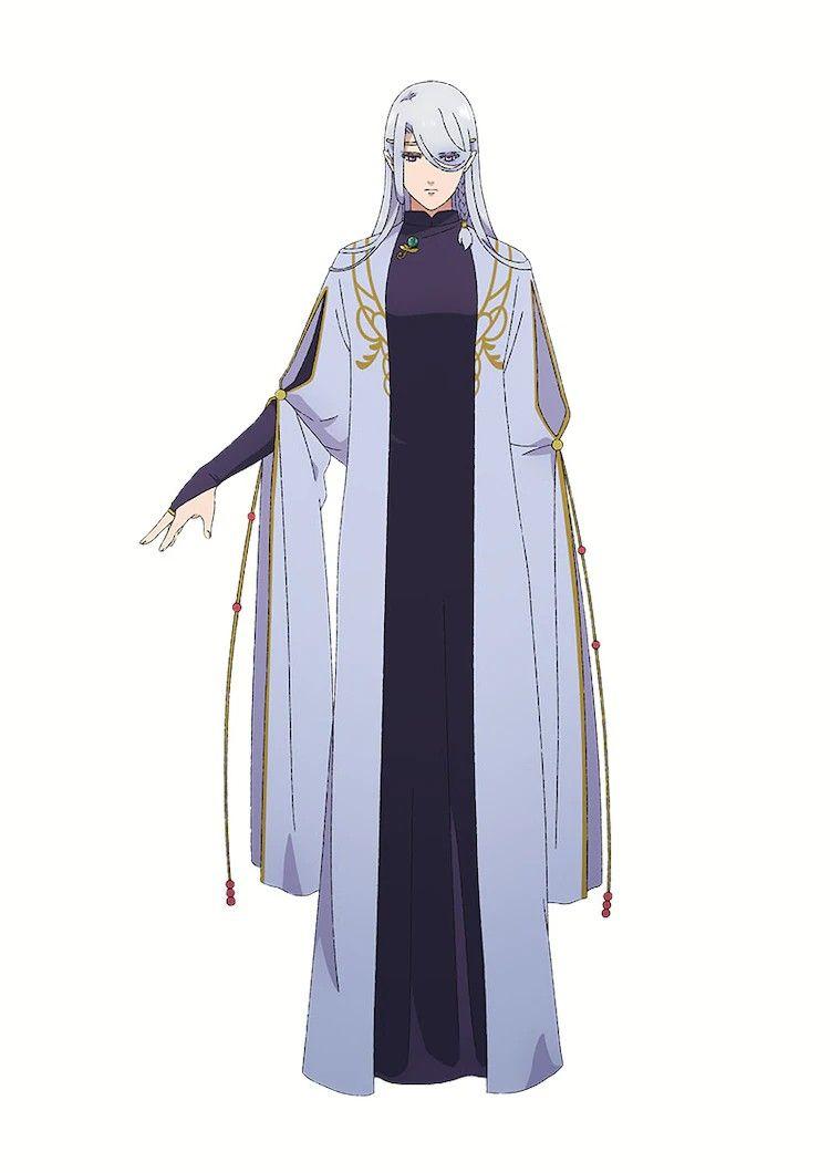 Imagen de Dearia con una expresión serena y el brazo derecho levantado al la nivel de las caderas en un fondo blanco.