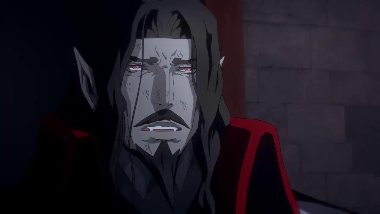 Dracula, ahora muerto, en el anime de Castlevania