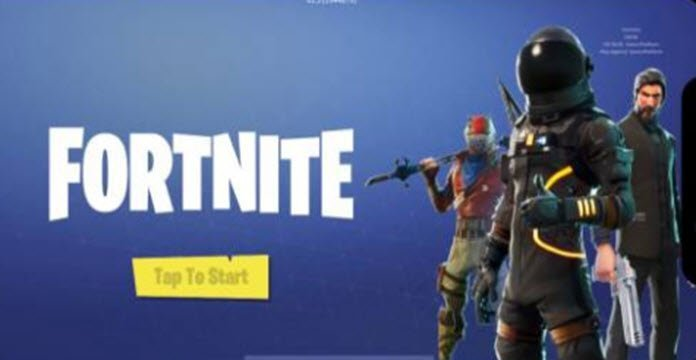 Logo de Fortnite sobre pantalla de inicio en dispositivo móvil