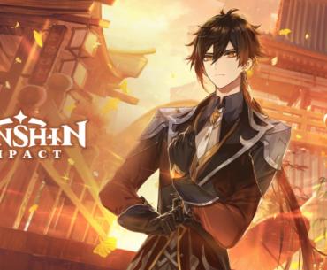 Imagen promocional de Genshin Impact con Zhongli acomodando sus guantes mientras al fondo se ve la ciudad en color ocre.