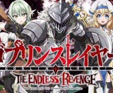 Imagen promocional oficial de 'Goblin Slayer The Endless Revenge' con todos los protagonistas alineados y el logo tipo del juego en la parte baja de la imagen.