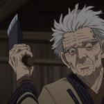 Imagen tomada de 'Golden Kamuy' con Yoichiro en un primer plano mientras sostiene un enorme cuchillo con una expresión de indiferencia y al fondo se ve el interior de una cabaña.