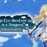 Imagen promocional oficial de 'Is It Wrong to Try to Shoot 'em Up Girls in a Dungeon?' con la protagonista posando frente al logo del DLC y al fondo un cielo realiZado en pixel Art.