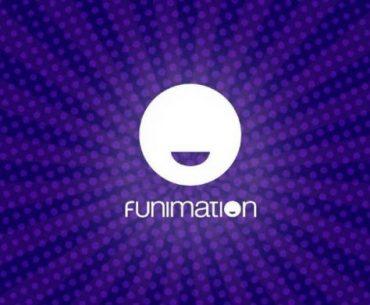 Imagen con el logotipo de Funimation en un fondo violeta con vamos de luz y círculos en un tono más claro.