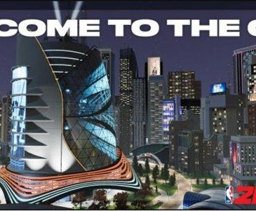 Imagen de una ciudad moderna con grandes rascacielos del juego NBA 2K21The City