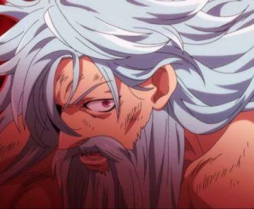Imagen tomada del primer tráiler de 'Nanatsu no Taizai: Fundo no Shinpan' con uno de los protagonistas en un primer plano de perfil mientras mira a la cámara con un fondo rojo.