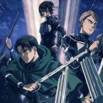 Imagen de los protagonistas de Shingeki no kyojin The Final Season con Mikasa en el centro y al fondo rodeada de los miembros restantes del cuerpo de exploración en un cielo azul rey.