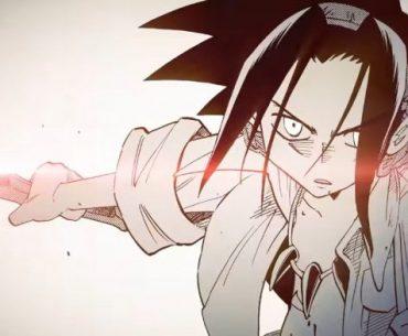 Imagen del manga de 'Shaman King' con Yoh extendiendo su brazo derecho mientras sostiene la katana con expresión sería en un fondo blanco.