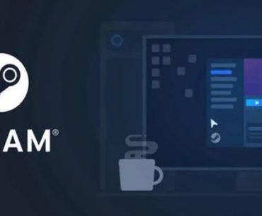 Logo de Steam sobre diseño de interfaz