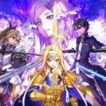 Imagen de Sword Art Online Alicization Rising Steel con todos los protagonistas apuntando su espada hacia Alice, quien se encuentra en el centro sosteniendo la suya en vertical, mientras al fondo aparece el rostro de la administradora de medio lado.