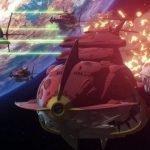 Imagen tomada del tráiler de Uchū Senkan Yamato to Iu Jidai: Seireki 2202-nen no Sentaku mientras atacan con rayos de color verde neón en el espacio.