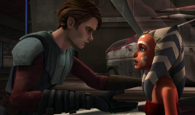 Ahsoka Tano y Anakin Skywalker.