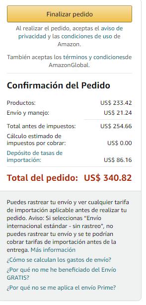 Ejemplo de factura en Amazon.