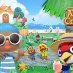 Varios personajes de Animal Crossing: New Horizons en una isla disfrutando jugando en un día soleado en un parque