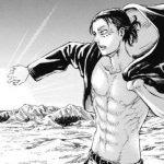 Imagen tomada del manga de 'Shingeki no Kyojin' con Eren de medio lado, mirando hacia la izquierda poniéndose la chaqueta y al fondo el desierto iluminado por el sol saliendo.