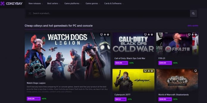 Captura de pantalla del portal Cdkeybay.com, que incluye títulos como Watch Dogs: Legion, Cyberpunk 2077, Call of Duty: Black Ops Cold War y FIFA 21