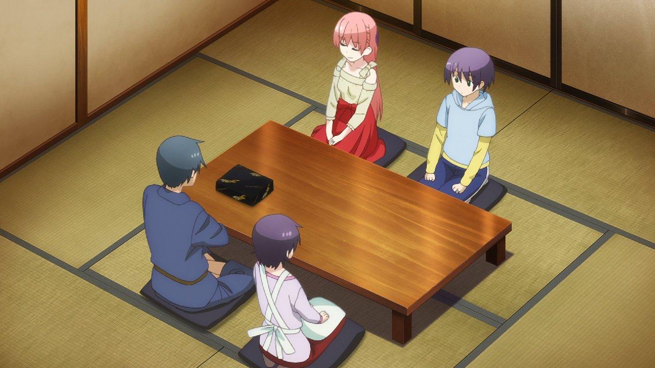Imagen del episodio 08 de Tonikawa con los protagonistas y los los padres de Nasa sentados en la mesa en un toma aérea.