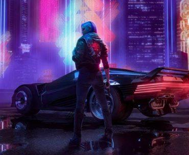 Una mujer de espalda con un automóvil en medio de Night City