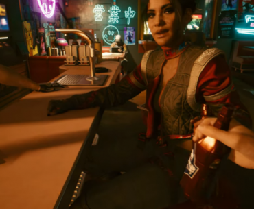 Escena en bar de Cyberpunk 2077.