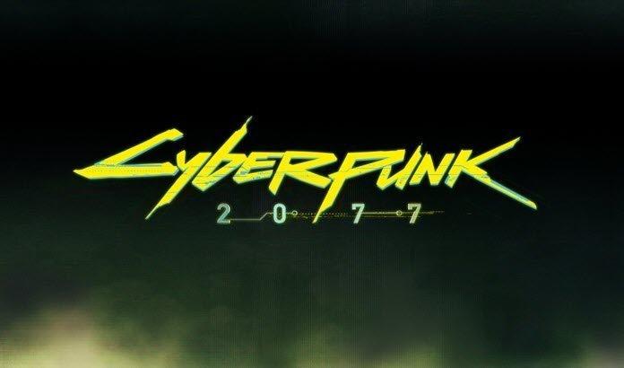 Logo de Cyberpunk 2077 con un fondo oscuro