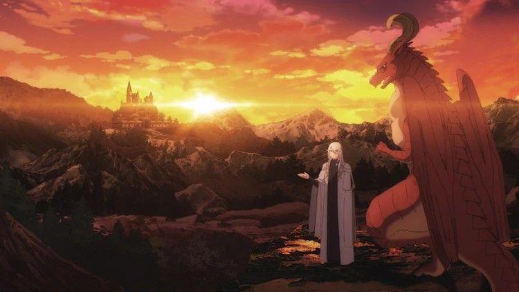Imagen promocional de 'Dragon Ie wo Kau' con los protagonistas de espaldas admirando un escenario de rocas rojizas con un castillo sobre el acantilado.