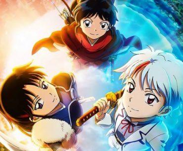 Imagen de Hanyou no Yashahime Sengoku Otogizoushi con las tres Protagonistas tomadas desde arriba mientras subiré el rostro y sonríen a la cámara, envueltas en un halo de luz y con la imagen dividida al fondo entre la era Reiwa y la era Feudal.