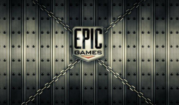 Logo de Epic Games en un fondo gris y con cuatro cadenas