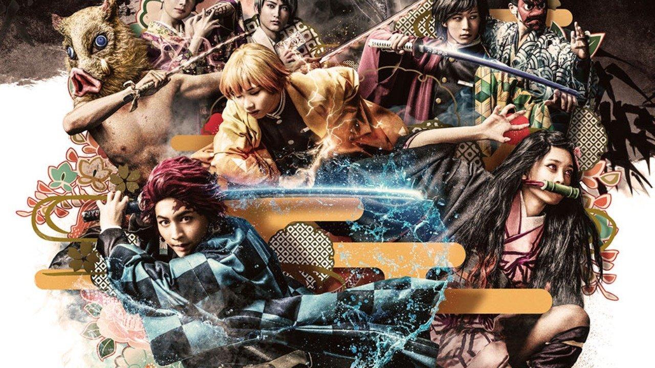 Imagen promocional de la obra de teatro de 'Kimetsu no Yaiba' con todos los protagonistas desatando su poder.