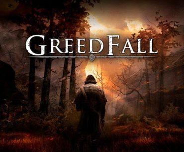 Portada de Greedfall con un hombre de espaldas en un bosque