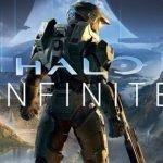 Portada de Halo: Infinite con Master Chief luciendo su armadura de color verde